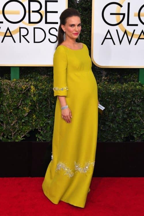 Pregnant Natalie Portman at the 74th Annual Golden Globe Awards