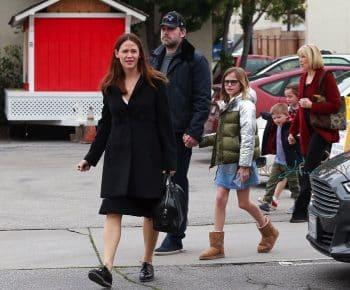 Ben Affleck and Jennifer Garner attend church service with their children on Super Bowl Sunday