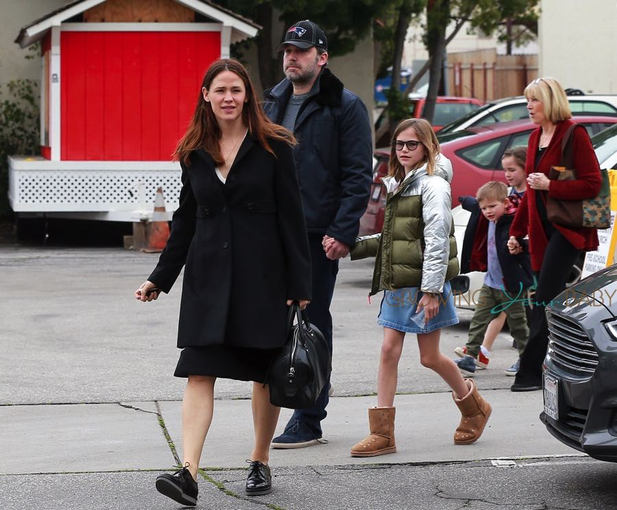 Ben Affleck and Jennifer Garner attend church service with their children on Super Bowl Sunday
