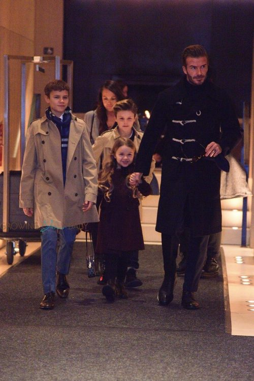 David Beckham and his kids head out to see Victoria Beckham's fashion show