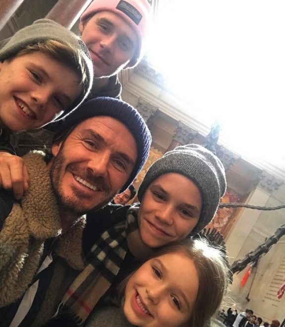 David Beckham kids Brooklyn, Romeo, Cruz and Harper at Museum of natural history