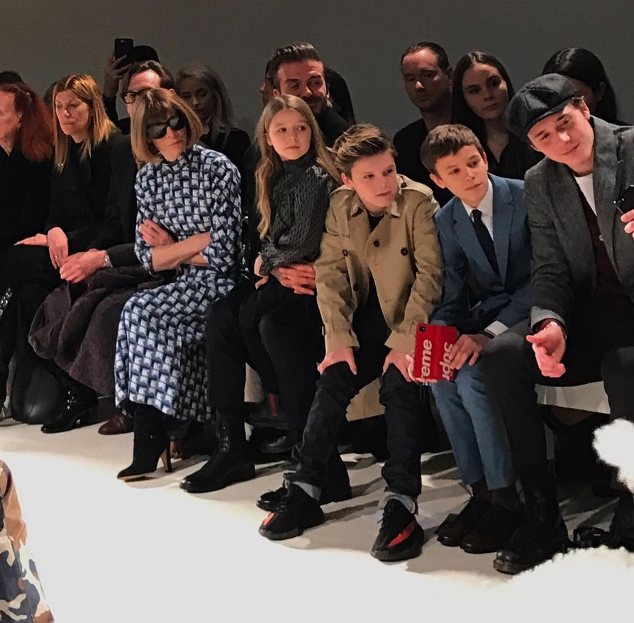 David Beckham sitting front row at Victoria Beckham's AW17 show in NYC with kids Brooklyn, Romeo, Cruz and Harper