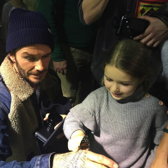 David Beckham with daughter Harper at Museum of natural history