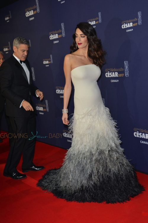 George Clooney and a pregnant Amal Clooney attend the photocall for Caesar's Film awards looking elegant together