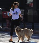 Jennifer Garner at a marathon with her dog in LA