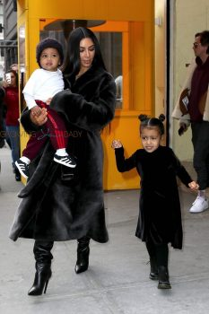 Kim Kardashian Leaves lunch at Cipriani with North West and Saint