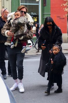 Kim Kardashian and Jonathan Cheban arrive for lunch at Cipriani with North West and Saint