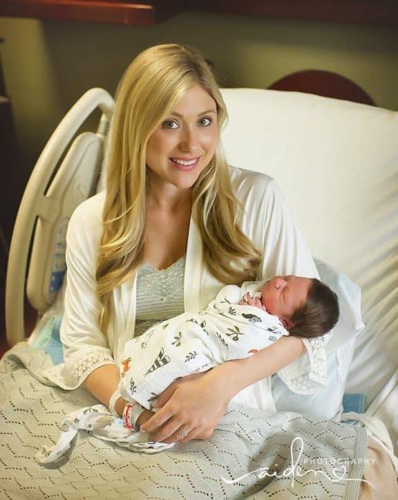Lauren Struck with her new baby boy