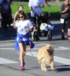 Violet Affleck at a marathon with her dog in LA