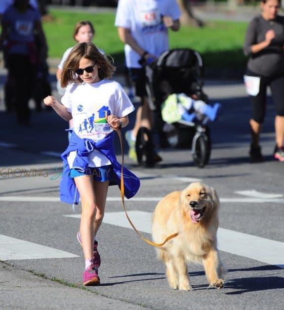 Violet Affleck at a marathon with her dog in LA