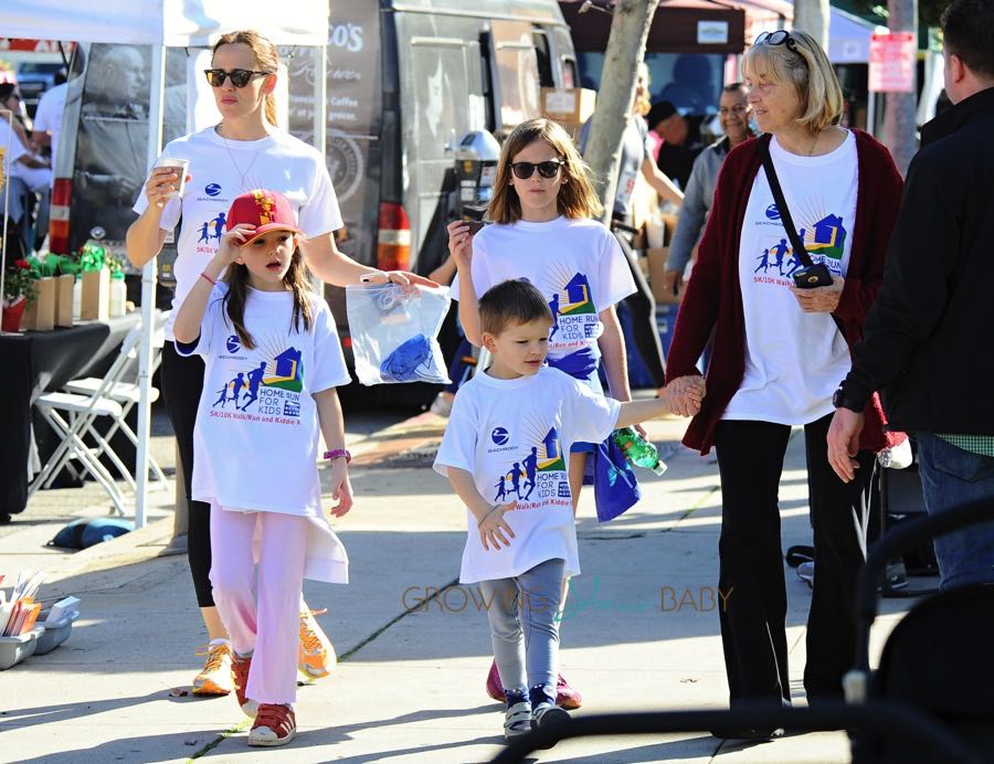 Violet, Seraphina and Sam Affleck out at a Marathon in LA