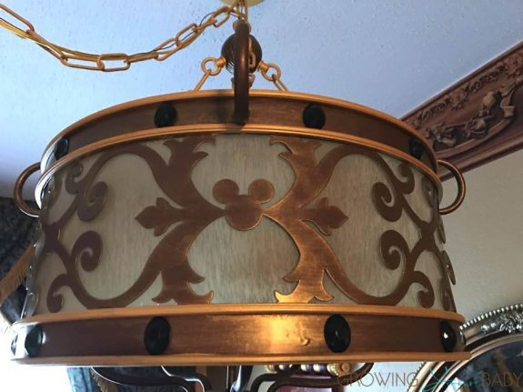 WDW Port Orleans Riverside Royal Room - hanging lamp hidden mickeys