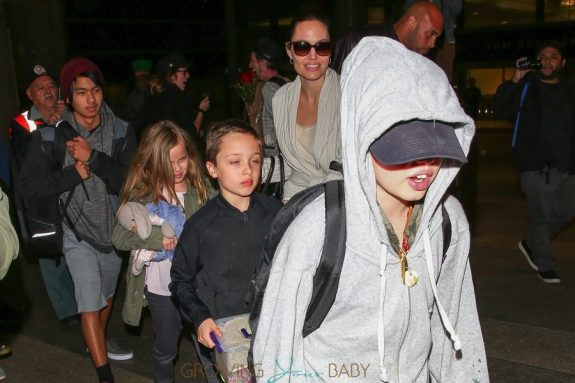 Angelina Jolie is spotted arriving back home in LA with children, Maddox, Vivienne, Pax, Zahara, Shiloh & Knox