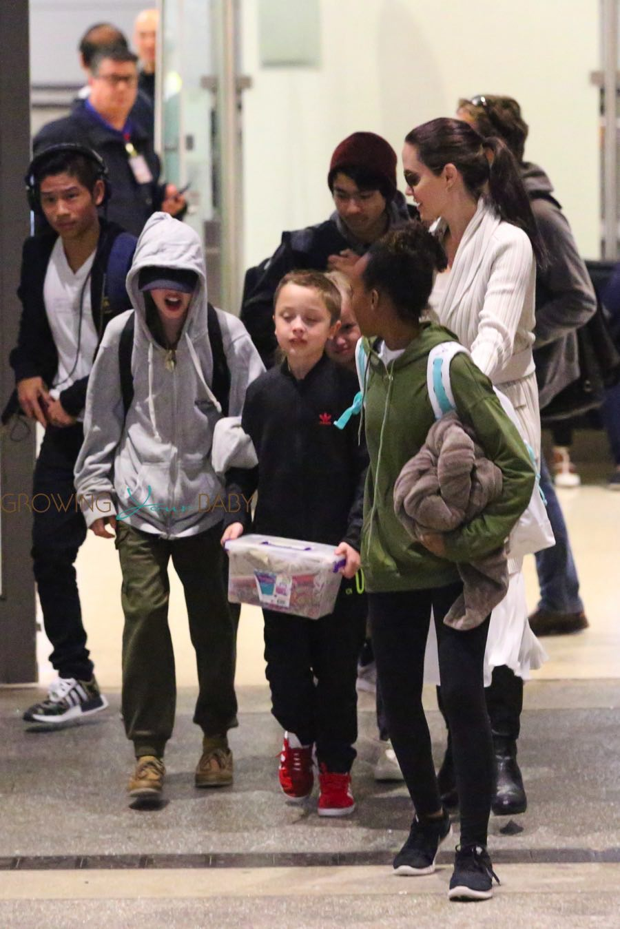 Angelina Jolie is spotted arriving back home in LA with children, Maddox, Vivienne, Pax, Zahara, Shiloh and Knox