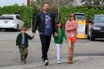 Ben Affleck arrives at church with kids Seraphina, Violet and Sam