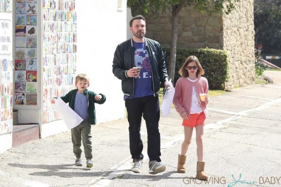 Ben Affleck leaves church with kids Violet and Sam