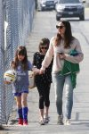 Jennifer Garner at soccer practice with daughters Seraphina and Violet