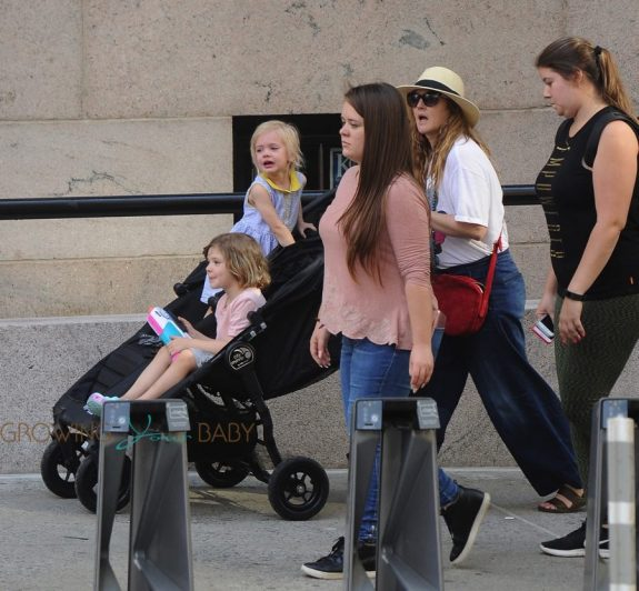 Drew Barrymore out for a stroll with her kids, Olive and Frankie in NYC