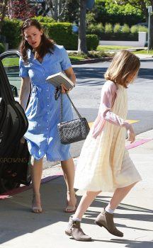 Jennifer Garner arrives at church with her daughter Violet Affleck for Easter Service