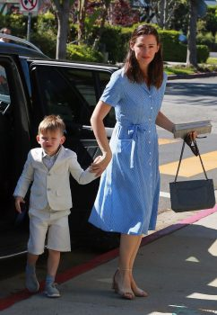 Jennifer Garner arrives at church with her son Sam for Easter Service