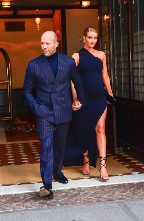 Pregnant Rosie Huntington-Whiteley and Jason Statham arrive at the premiere of 'The Fate Of The Furious'