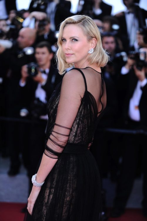Charlize Theron attends the 70th Cannes Anniversary Red Carpet.