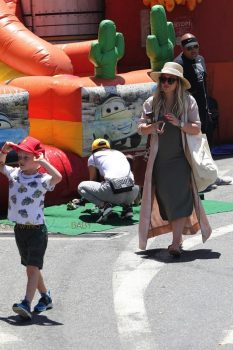 Hilary Duff does a bit of shopping with son Luca at the local farmers market
