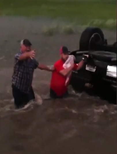 Infant rescued from floodwaters