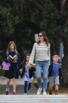 Jennifer Garner out in Brentwood with kids Violet, Seraphina and Sam Affleck 2017