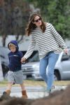 Jennifer Garner out in Brentwood with son Sam Affleck 2017