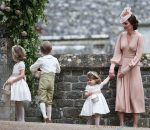 Kate Middleton with Prince George & Princess Charlotte at the wedding of Pippa Middleton and James Matthews at St Mark's Church Englefield in Berkshire