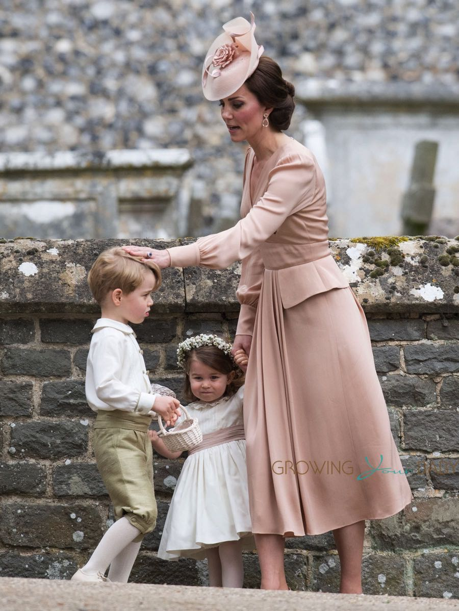 Kate Middleton with Prince George and Princess Charlotte at the wedding of Pippa Middleton and James Matthews at St Mark's Church Englefield in Berkshire
