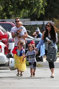 Megan Fox and husband Brian Austin Green and their boys Noah, Journey and Bodhi leave Nobu Restaurant