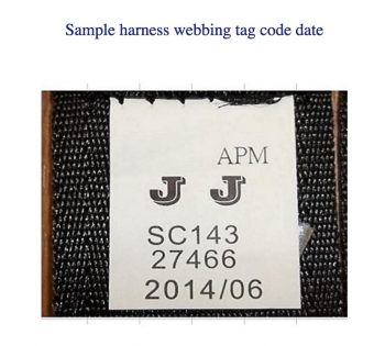 recalled My Ride 65 Car Seat sample harness webbing tag code