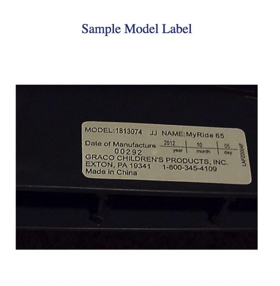 recalled My Ride 65 Car Seat sample model label