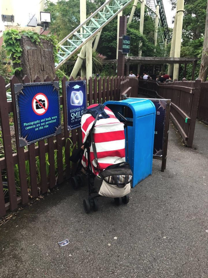 Baby left alone at theme park for an hour