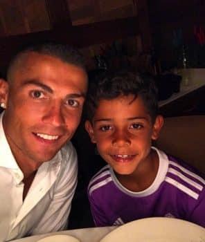 Cristiano Ronaldo with son Cristiano Ronaldo Jr.