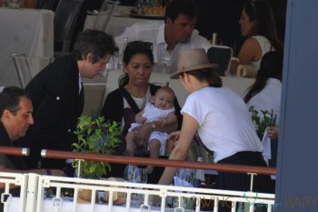 Marion Cotillard with husband Guillaume Canet and daughter Louise at Jumping at the Saint Tropez Athina Onassis Horse Show