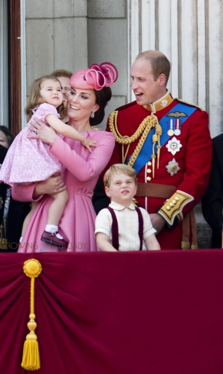 Princess Charlotte of Cambridge, Catherine, Duchess of Cambridge, Prince George of Cambridge and Prince William, Duke of Cambridge atBuckingham Palace during the Trooping the Colour parade