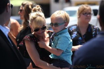 Anna Faris with son Jack at Emoji Movie premiere