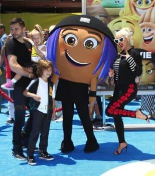 Christina Aguilera, Matthew Rutler with kids Summer and Max Bratman at Emoji movie premiere