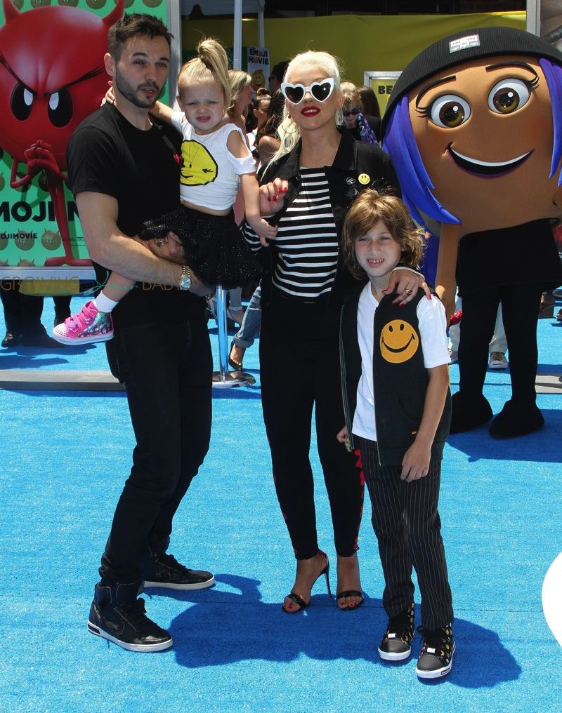Christina Aguilera, Matthew Rutler with kids Summer and Max Bratman at Emoji movie premiere