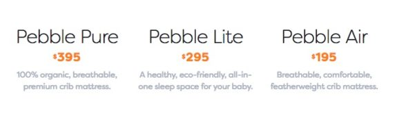 Nook Pebble mattress options