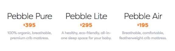 Nook Pebble mattress options