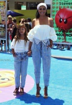 Rachel Roy with daughter at Emoji Movie premiere