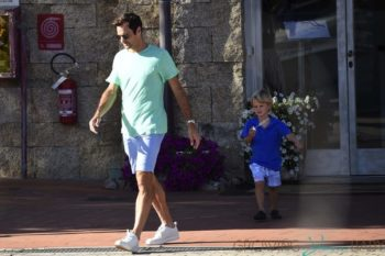 Roger Federer and his son go on a walk in Portisco