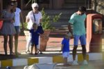 Roger Federer and his sons Leo and Lenny go on a walk in Portisco