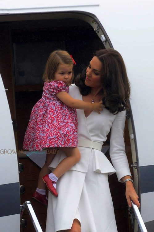 The Duchess of Cambridge arrives in Poland with Princess Charlotte