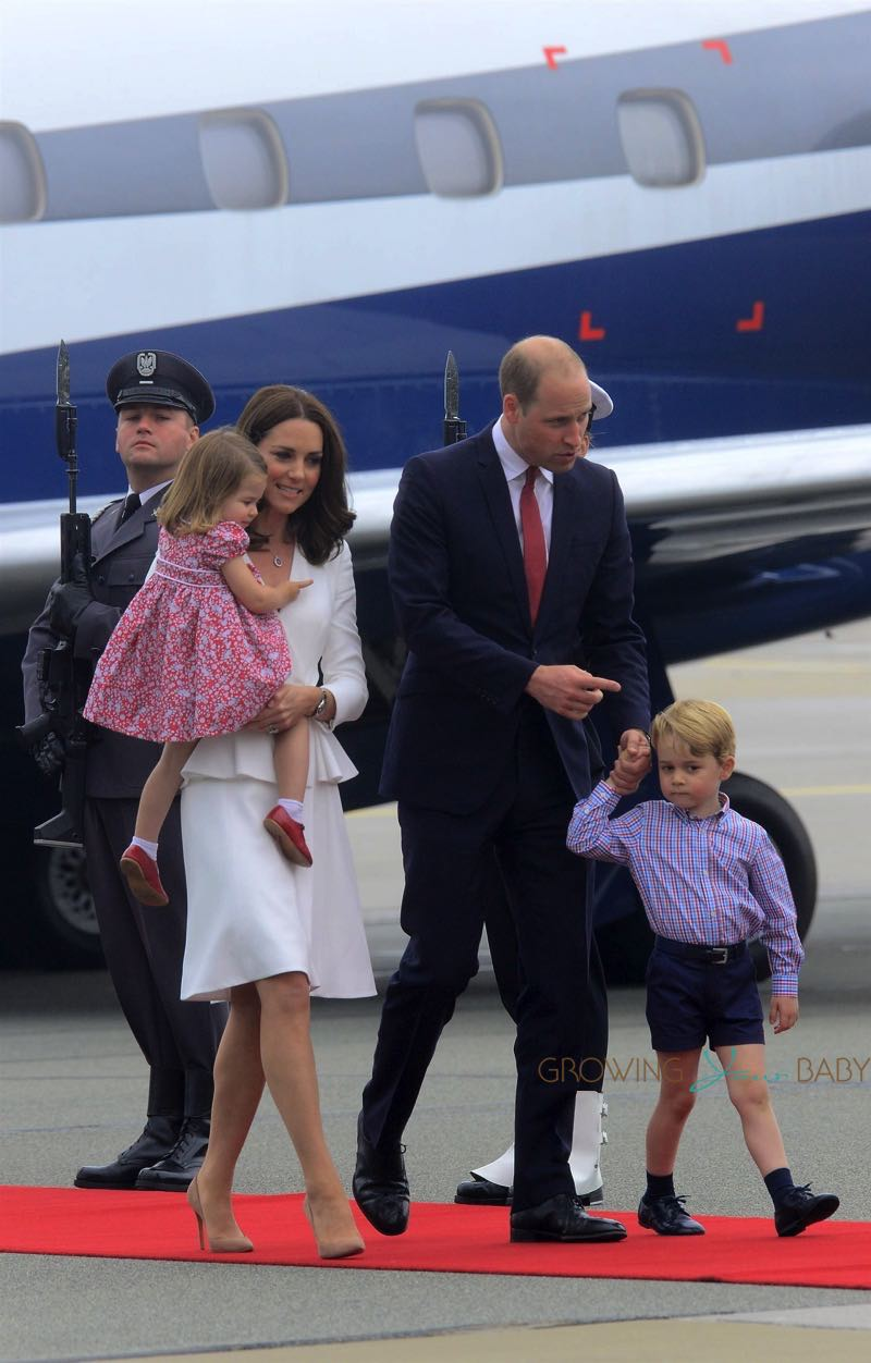 The Duke and Duchess of Cambridge arrive in Poland with kids Princess Charlotte and Prince George