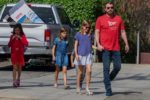 Ben affleck attends sunday service with his kids Sam, Seraphina and Violet